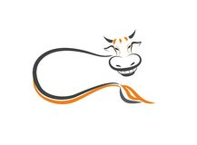 Smiling cow. Sketch of laying smiling cow Royalty Free Stock Image
