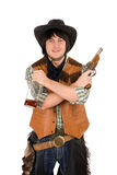 Smiling cowboy with a bottle and gun Stock Photos