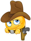 Smiling cowboy emoticon Stock Photography