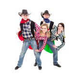 Smiling cowboys and cowgirls dancing Stock Image