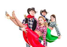 Smiling cowboys and cowgirls dancing Royalty Free Stock Photo