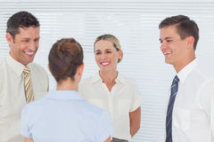 Smiling coworkers having a break together Royalty Free Stock Images