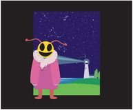 Smiling creature at night on the shore stock illustration