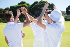 Smiling cricket players celebrating win at field. Against clear sky royalty free stock image