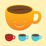 Smiling cup of coffee icons set Royalty Free Stock Image
