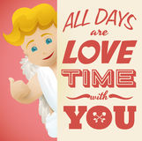 Smiling Cupid Behind a Love Message for Valentine's Day, Vector Illustration Stock Image