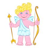Smiling cupid with bow and arrow vector illustration