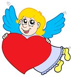 Smiling cupid with heart Royalty Free Stock Images