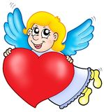 Smiling cupid with heart Stock Photography