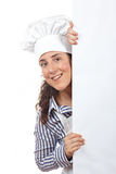 Smiling curious cook woman Stock Photo