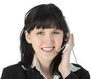 Smiling Customer Rep. Beautiful young customer service rep with headset Royalty Free Stock Photo