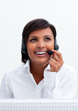 Smiling customer service agent with headset on Royalty Free Stock Photo