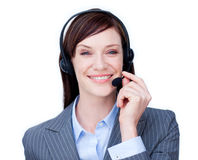 Smiling customer service agent with headset on Stock Photo