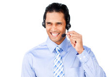 Smiling customer service agent with headset on. Against a white background stock images