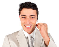 Smiling customer service representative using head. Set against a white background Royalty Free Stock Photo