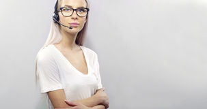 Smiling customer service or support representative with headset Stock Photo
