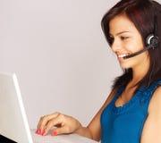 Smiling customer service woman Stock Photo