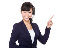 Smiling customer services operator. Isolated on white background Royalty Free Stock Images