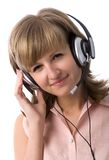Smiling customer support girl Stock Photography
