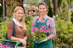Smiling customer and worker in garden center Stock Photo