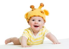 Smiling cute baby infant in funny hat Royalty Free Stock Photos