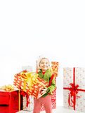 Smiling cute boy holding the gift Royalty Free Stock Photos