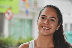 Smiling Cute Colombian Girl. A young pretty Colombian teenage girl stock photo