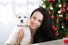 Smiling cute girl hugs her dog for christmas holiday Royalty Free Stock Images