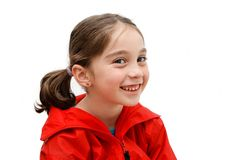 Smiling cute girl with pigtails Royalty Free Stock Photos