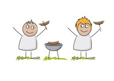 Smiling cute husband and wife doodle figures. Holding cooked hot dogs besides grill standing in impressions of grass against a white background Stock Photo