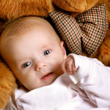 Smiling Cute infant with a bear Royalty Free Stock Photos