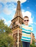 Smiling cute little boy in sunglasses Stock Images