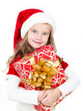 Smiling cute little girl with christmas gift box Stock Photography