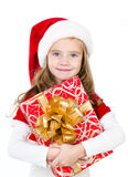 Smiling cute little girl with christmas gift box Royalty Free Stock Photography