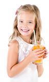 Smiling cute little girl with glass of juice isolated Royalty Free Stock Photo