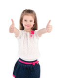 Smiling cute little girl with two finger up Stock Photography