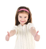 Smiling cute little girl with two finger up Stock Photo