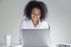 Smiling cute office employee Stock Images