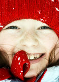 Smiling cute preschooler girl winter portrait Royalty Free Stock Photo