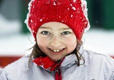 Smiling cute preschooler girl winter portrait Stock Photography