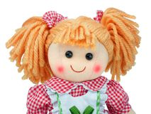 Smiling Cute rag doll portrait isolated stock image