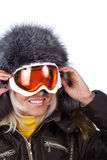Smiling cute skier Stock Image