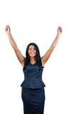 Smiling cute woman with arms raised Stock Photography