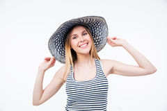 Smiling cute woman in hat Royalty Free Stock Photography