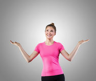 Smiling cute woman juggling Royalty Free Stock Photography