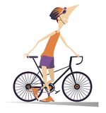 Smiling cyclist stays holding a bike isolated illustration. Cartoon smiling cyclist man in helmet stays holding a bike isolated on white illustration Stock Images