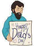 Smiling Dad with Handcraft given by his Daughter for Father's Day, Vector Illustration. Happy dad in turtlenecks coat with a poster board with greeting handcraft Royalty Free Stock Photography