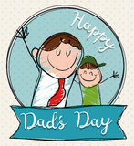 Smiling Dad with Son in Doodle Style for Father's Day, Vector Illustration. Joy scene of happy dad and son celebrating Father's Day in doodle style vector illustration