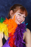 Smiling Dance Student. A pretty red-headed dance student smiles in her musical theatre dance costume Royalty Free Stock Photo