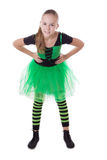 Smiling dancer in green tutu skirt standing Royalty Free Stock Image